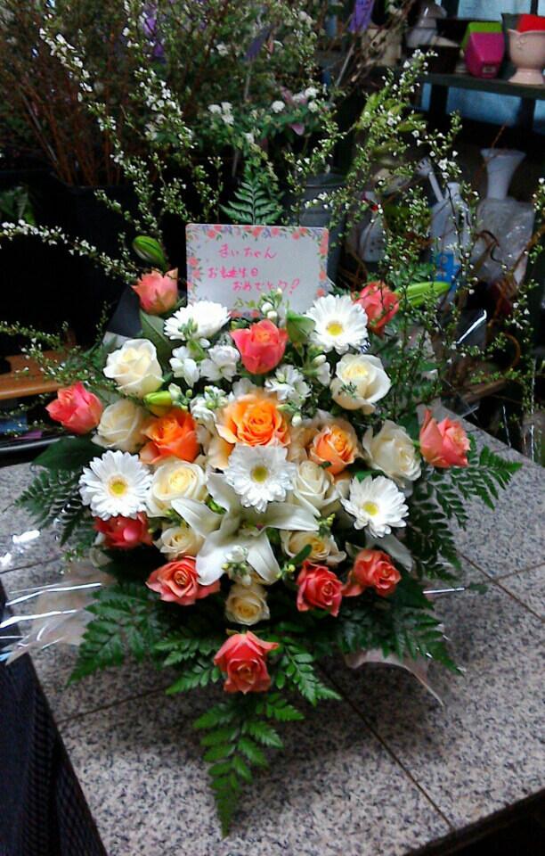 今日の 誕生日のお花。