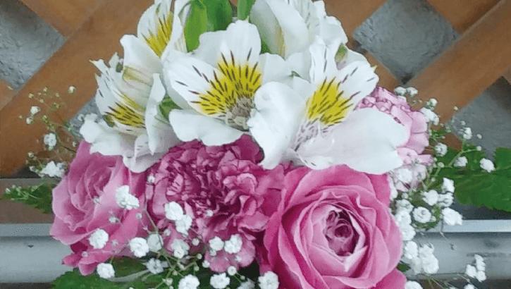 ピンクのバラとアストロメリア(2018年11月7日)