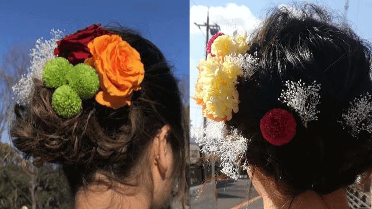 成人式のプリザーブドフラワーの髪飾り(2019年1月21日)