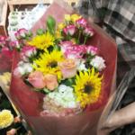 ゴッホの向日葵を使ったお誕生日の花束