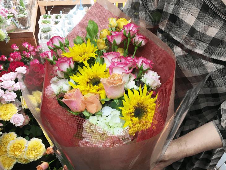 ゴッホの向日葵を使った誕生日の花束