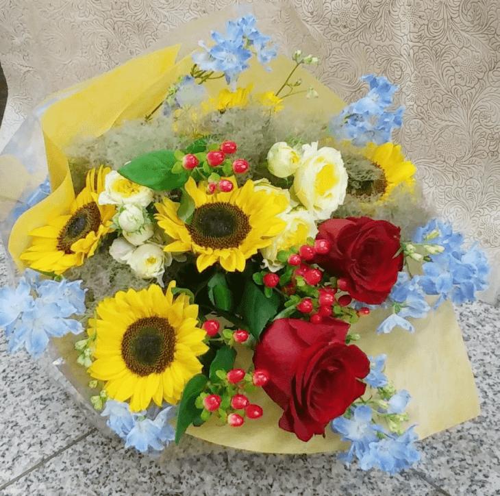男性向けのコンパクトな花束