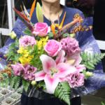書道の展示会へのお花